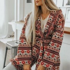Zara Knit Jacquard Fringe Jacket Red XS
